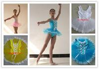 4 Colors Girls Ballet Costume Tutu Skirt Gymnastics Leotard Dance Dress SZ 3-8