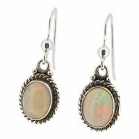 Sterling Silver Drop Earrings with Ethiopian Opal by Touch Jewellery - 925