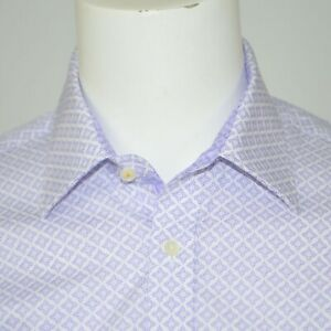 NWT TED BAKER Endurance Cotton Lavender White Floral Dress Shirt Sz 15.5 32/33