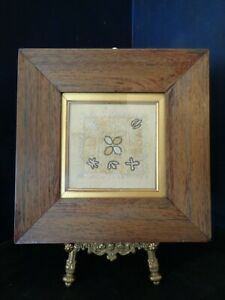 RARE ANTIQUE ROSEWOOD FRAMED CHAIN STITCH EMBROIDERY SAMPLER, SILK ON FINE LINEN