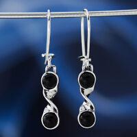 Onyx Silber 925 Ohrringe Damen Schmuck Sterlingsilber H0598