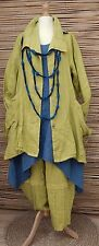 LAGENLOOK BEAUTIFUL 3 PCS OUTFIT JACKET+DRESS+TROUSERS*LIME/BLUE*BUST UP TO 46""