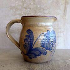 Handcrafted Stoneware Pottery Jug 800mls Signed 1994 Blue FolkArt Flower Design