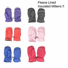 Kids Toddlers Fleece Lined Winter Gloves Waterproof Assorted Solid Color Mittens
