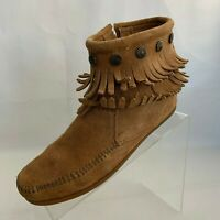 Minnetonka Womens Moccasin Ankle Boots Zip Fringe Camel Leather Suede Size 7