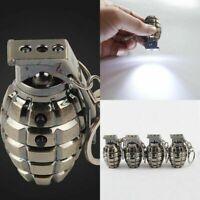 Mini Led Hand Grenades Flashlight Key Chain Super Bright Keyring Metal Mens S9Y8