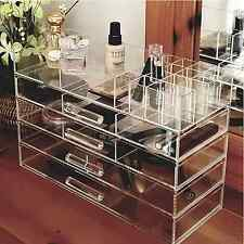 Clear Jewelry Cosmetic Holder Makeup Drawers Storage Display Organizer Case Box