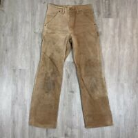 Vintage Carhartt Distressed Brown Duck Canvas Men's Work Pants Size 29 X 32