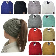 Beanie Tail Messy High Bun Winter Warm Fleece Pony Tail Beanie Hat Knit Cap LOT