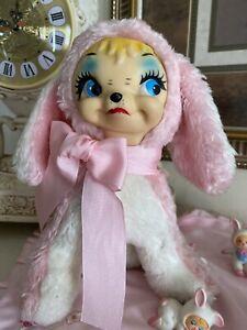 """Vintage Rubber Face Plush Rabbit 10.5"""""""