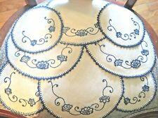 New listing Vintage Linen Doilies Set Of 8 Blue Crocheted Edges 2 Sizes Flower Design