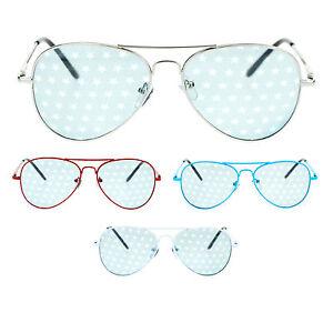 USA Star Inprint Blue Lens Wire Rim American Flag Sunglasses