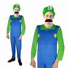 Luigi fancy dress costume, Mens size small med large  NEW Jumpsuit Hat Moustache