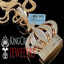 Genuine Diamond 10K Rose Gold Finish Kings Crown Cross Pendant Charm 0.40 ctw