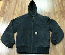 MENS LARGE - Vtg Carhartt JR105 Duck Thermal Lined Work Hooded Jacket USA