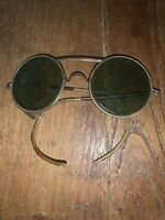 Vintage Early 1900s Antique Aviator Leather Pilot Like Glasses Old (read)