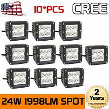 10X 3inch 24W Cree LED Spot Cube Work Lights Driving Pods Off-road Atv Ute Sales