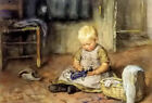Oil painting Jan Zoetelief Tromp - the little mother child with Beloved doll art