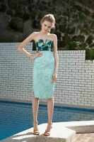 New BIANCA SPENDER Green Water Print Silk Notched Strapless Bustier Top 8 $350