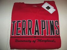 MARYLAND TERRAPINS PULLOVER CREWNECK SWEATSHIRT MENS SIZE LARGE - RED - NWT