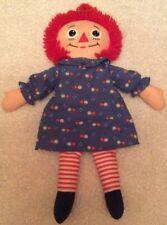 "RARE Vintage 18"" Raggedy Ann Rag Doll Plush 1987 Playskool Blue Floral Dress"