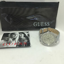 NEW ARRIVAL! GUESS SWAROVSKI CRYSTALS SILVER LEATHER BRACELET WATCH $95 W0156L4
