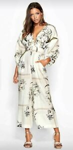 Sheike off white floral jumpsuit size 10