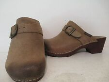 Bass Womens Warley Suede Slip On Clogs Black Sand Size 6 M