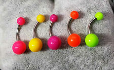 PIERCING OMBELICO 5 COLORI COLOURS NAVEL BELLY BARS 316L SURGICAL STEEL 1,6 MM B