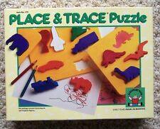 Vintage 1989 Discovery Toys Place and Trace Set Transportation Dinosaurs Animals