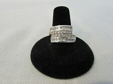 Sterling Silver Cubic Zirconia Channel Set Crossover Band Ring 925 Sz: 8
