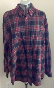 Orvis red navy green gold plaid cotton wool blend button down shirt XL