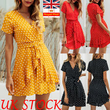 Women V Neck Wrap Mini Dress Ladies Summer Holiday Spotted Ruffle Sun Dresses UK