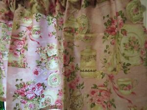 Pair Of (2) Romantic Pink Quest For A Cure Valances Tea For Two By Ro Gregg