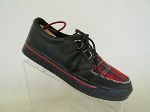 T.U.K  Black Leather Plaid Lace Up Punk Goth Casual Ankle Shoes Womens Size 8