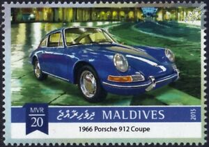 1966 PORSCHE 912 Coupe Classic Sports Car Stamp (2015 Maldives)
