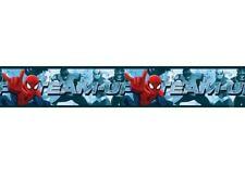 2 rollos Cenefa Spiderman adhesiva deco habitación 5+5 metros,10.6 cm ancho