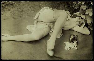 Original 1910 French Postcard Photo Nude Girl Yva Richard / Diana Slip Lingerie
