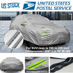 Car Cover Outdoor Waterproof UV Rain All Weather Protection Universal JEEP & SUV