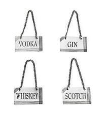 Bombay 4 Liquor Decanter Label SS Brass  Whiskey Gin Vodka Scotch Gift Set New
