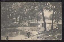 POSTCARD SILOAM SPRINGS AR/ARKANSAS LONG POLE FISHING AT FOOT BRIDGE 1907