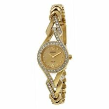 New Seiko Solar Women's SUP176 Swarovski Crystal Gold Tone Watch