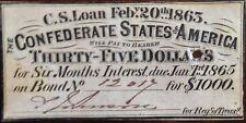 1863 Civil War, $35.00 Confederate Bond receipt, from a Stonewall Jackson Bond