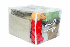 Clear Vinyl Zippered Storage Bags 15 x 18 x 12 Inch with Rope Handle 5-Pack