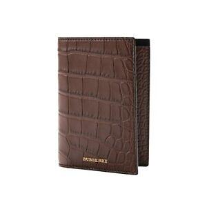1150$ BURBERRY Genuine Alligator Passport Holder Wallet Flax Brown Unisex