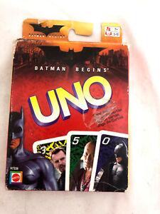 UNO BATMAN BEGINS CARD GAME MATTEL (2005) RARE complete (No Instructions)