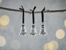 3 Silver Mini Xmas Tree Baubles, Small Mercury Glass Nkuku Talsi Hanging
