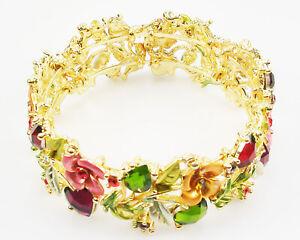 Joan Rivers Enamel & Crystal Hearts & Flowers Bracelet  Average   Copper/Pink