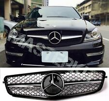 Mercedes Benz 08-13 W204 C-Class SL C200 C300 C350 Gloss Black Chrome Grille
