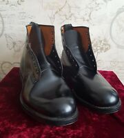 Mens Sanders & Sanders Army Officer Black Leather Ankle Boots 1977   UK Size 10